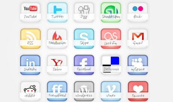 Icon Set Freebie glossy social icons