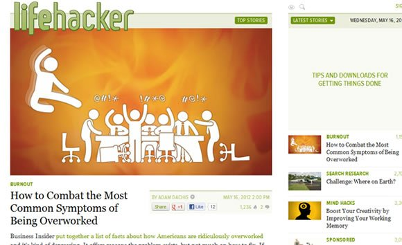 Lifehacker blog homepage articles