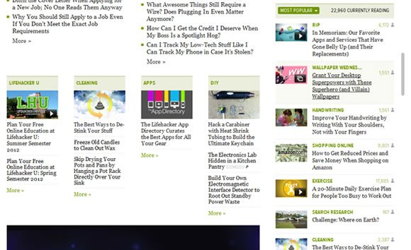Lifehacker sidebar and featured stories