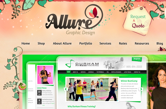 Allure website design layout illustrations vines vectors