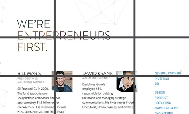 google ventures team page rule of 3rds grid