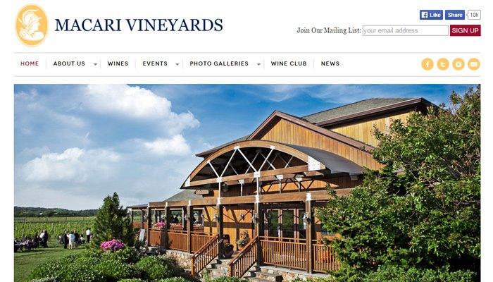 macari vineyards clean white simple layout