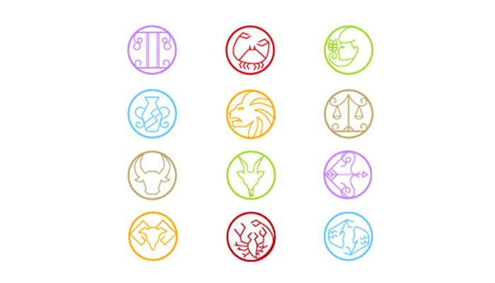 thin colorful zodiac icons