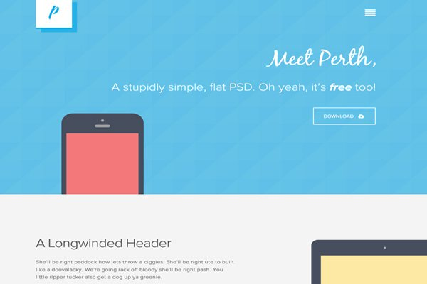 perth flat portfolio website psd layout design