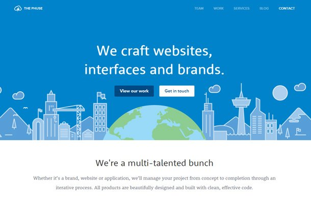 the phuse blue homepage animation layout