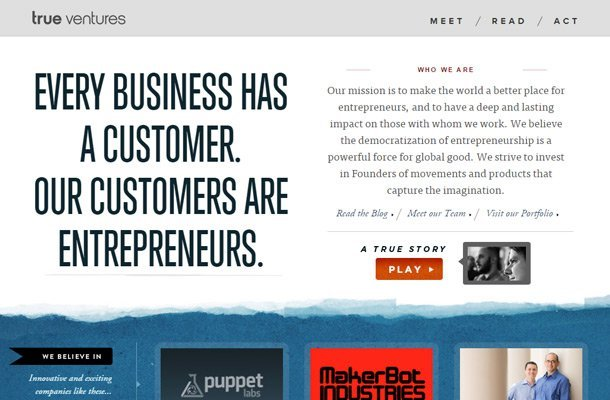 true ventures capital investing homepage typography