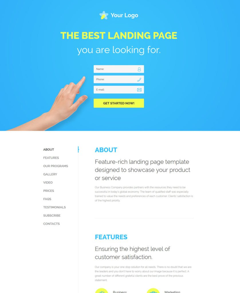 30 of the best responsive landing page templates for 2016 for Wordpress squeeze page template